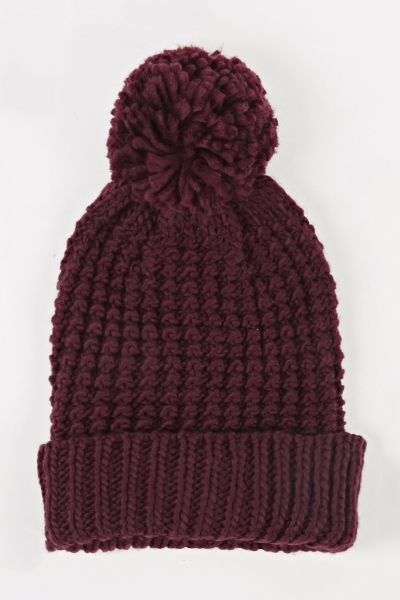 Knitted Pom Beanie Hat