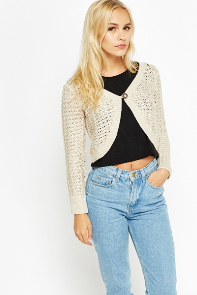 Loose Knit Cropped Cardigan