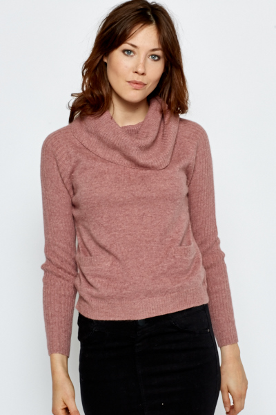 Pocket Front Turtle Neck Jumper