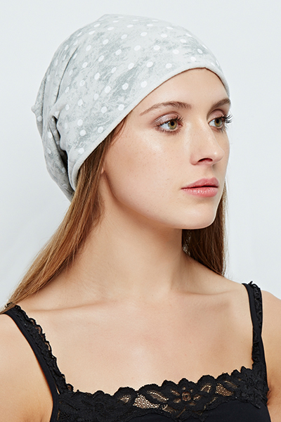 Polka Dot Wash Out Beanie Hat