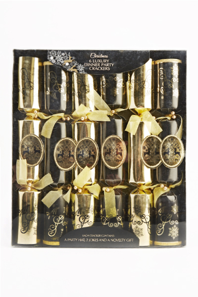 Six Black Luxury Party Crackers