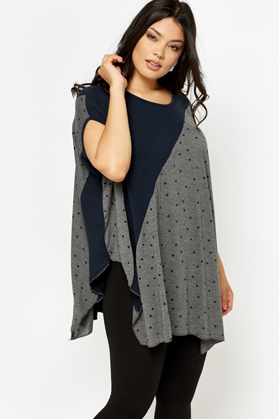 Polka Dot Floaty Contrast Top