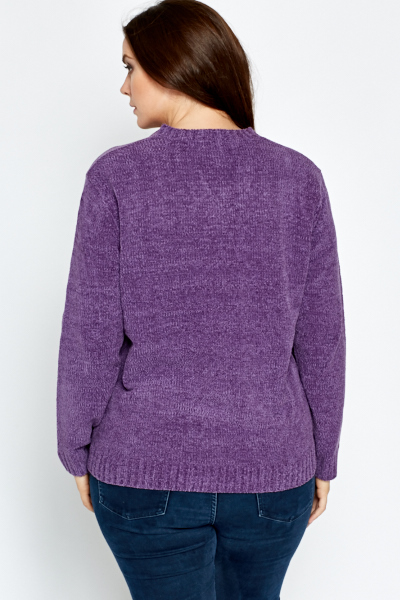 Purple V-Neck Button Front Jumper