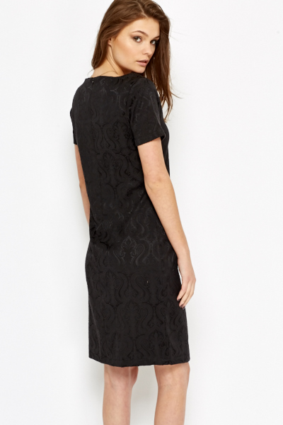 Charcoal Ornate Jacquard Dress