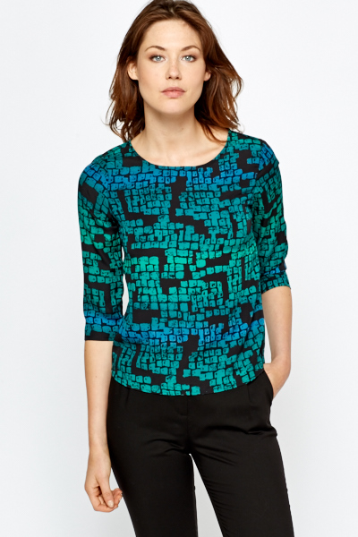 Contrast Green Printed Blouse
