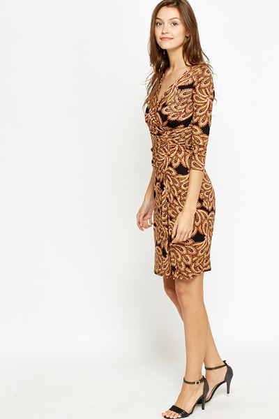 Mix Paisley Print Wrap Dress
