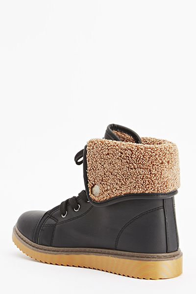 Faux Fur Trim High Top Trainers