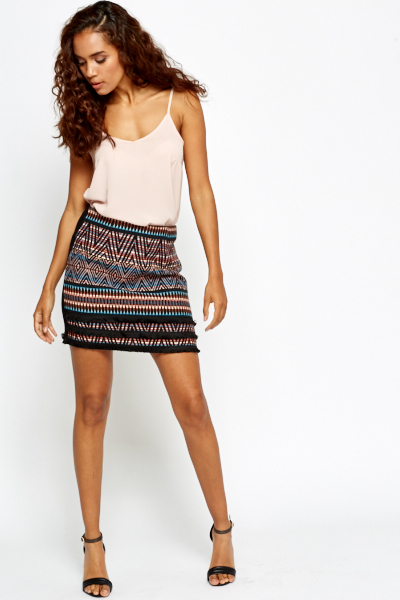 Aztec Front Mini Skirt
