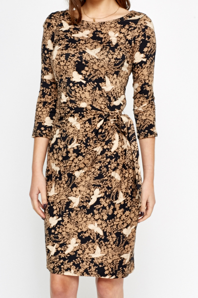 Black Bird Print Wrap Dress