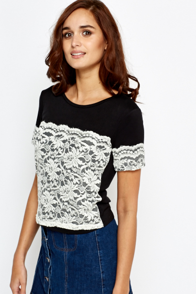 Black Lace Insert Cropped Top