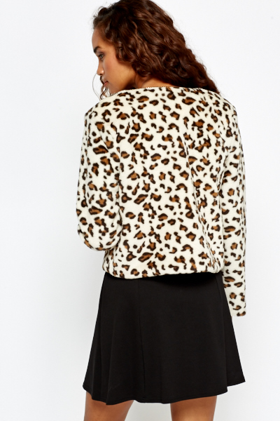 Cropped Leopard Faux Fur Coat