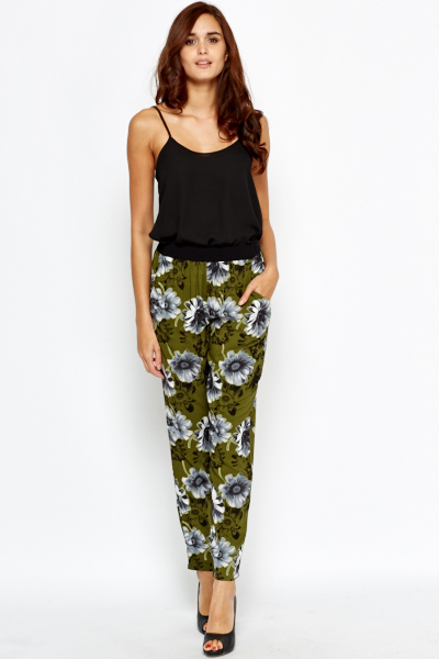 Olive Floral Tapered Trousers
