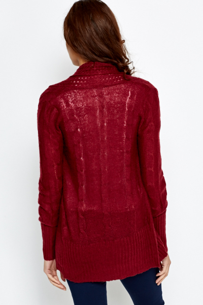 Open Front Loose Knit Cardigan
