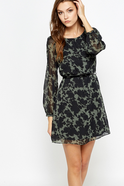 Print Forest Green Shift Dress