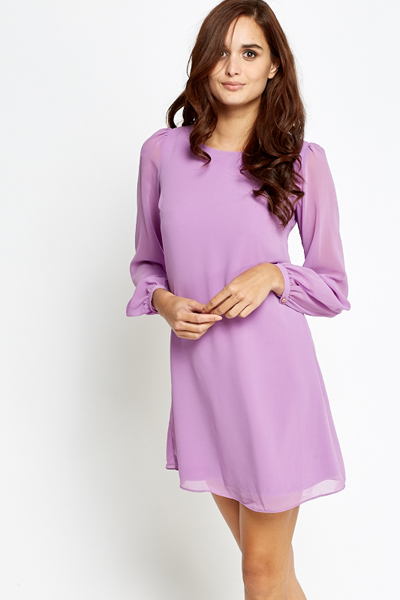 Shirred Sleeves Casual Chiffon Dress