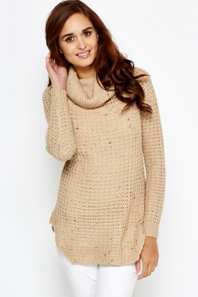 Speckled Cowl Neck Long Line Jumper