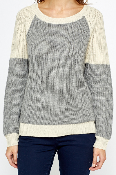 Two Tone Dipped Back Jumper