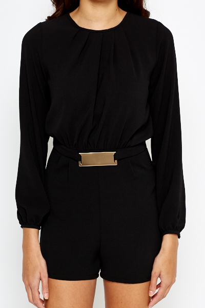 Belt Design Black Playsuit