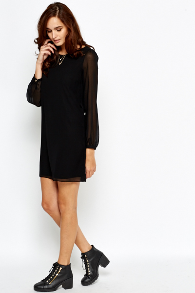 Black Long Sleeve Shift Dress