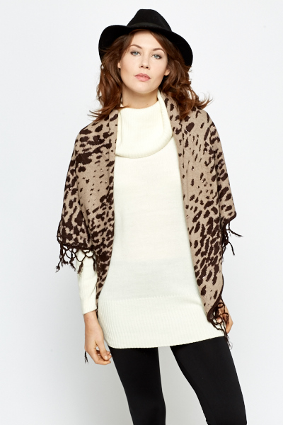 Contrast Print Open Poncho