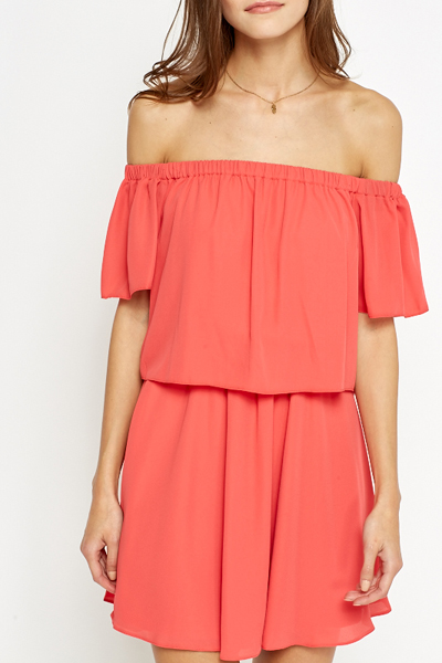 Coral Off Shoulder Layered Dress