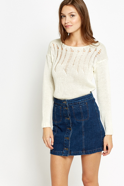 Perforated Detail Knit Jumper