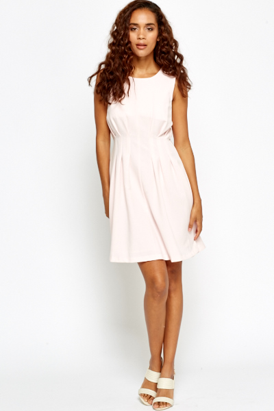 Pleated Front Skater Dress