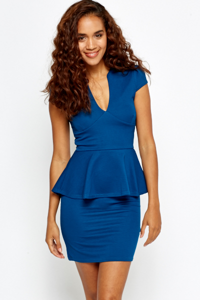 Plunge Neck Peplum Dress