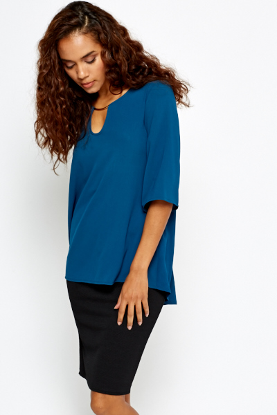 Teal A-Line Top