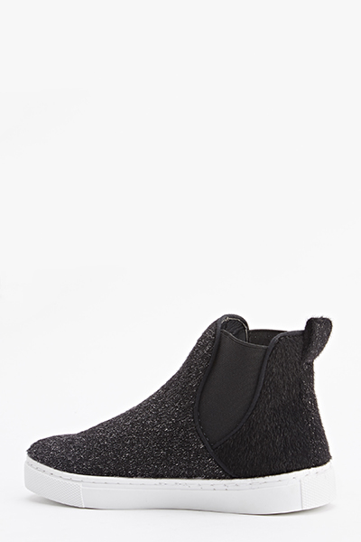 Faux Fur High Top Slip On Plimsolls