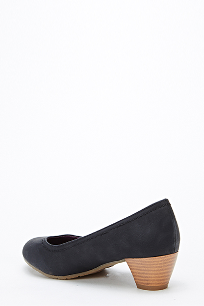 Faux Leather Low Block Heels