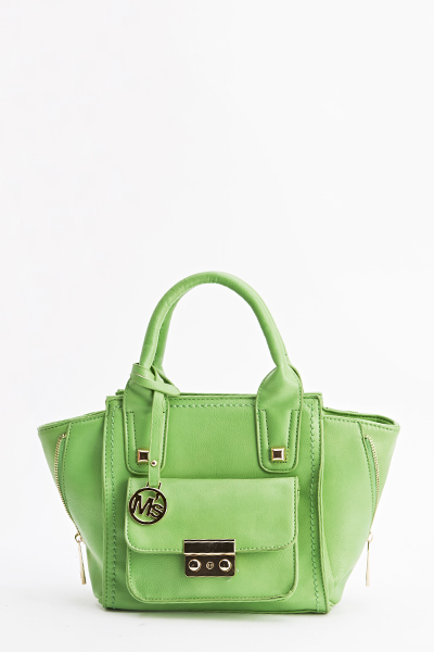 Faux Leather Zip Detail Handbag