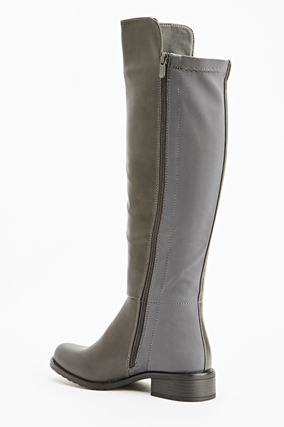 Grey Contrast Knee High Boots