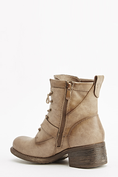 Khaki Belt Design Boots