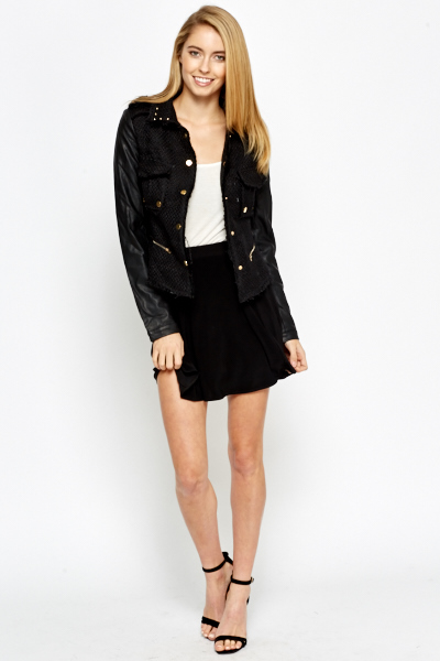 Contrast Faux Leather Sleeve Jacket