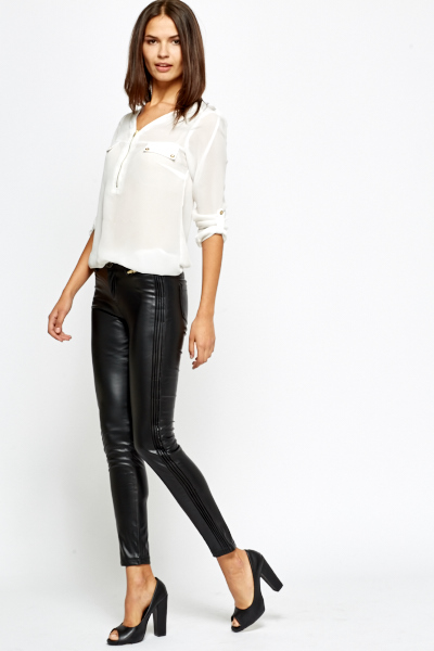 Contrast Side Faux Leather Trousers