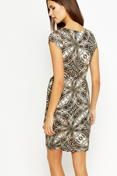 Leopard Print Fitted Jersey Dress