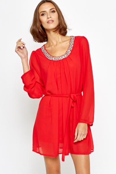 Red Jewelled Neckline Shift Dress