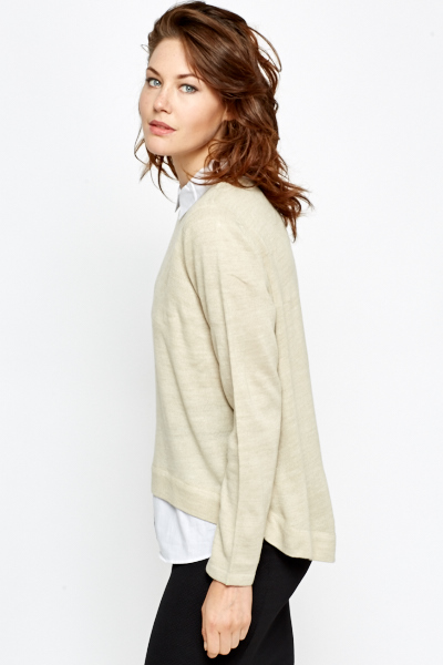 Shirt Insert Beige Knit Top