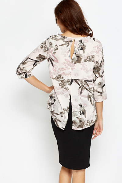 Split Back Light Pink Blouse