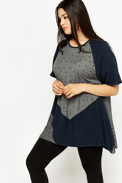 Dark Grey Mix Print Tunic