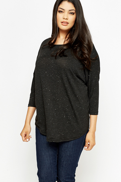 Drop Shoulder Speckled Top