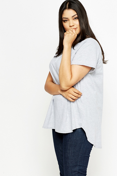 Grey Dipped Hem Top