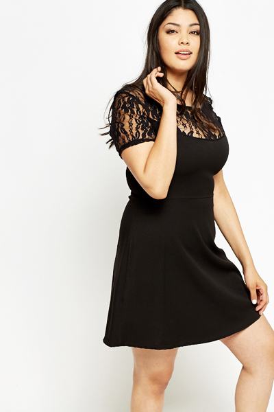 Lace Yoke Black Skater Dress