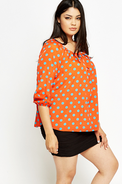 Polka Dot Orange Blouse