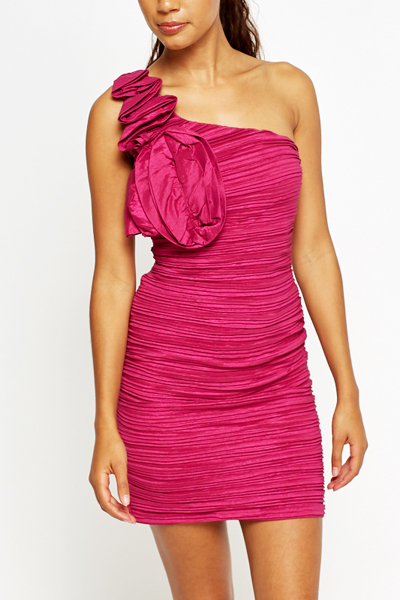 Fuchsia Ruched Bodycon Dress