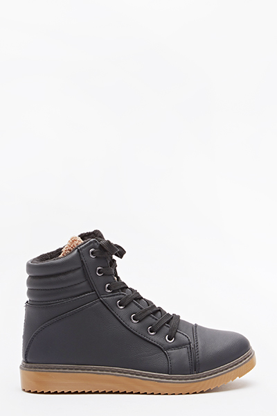 Black Quilted High Top Trainers