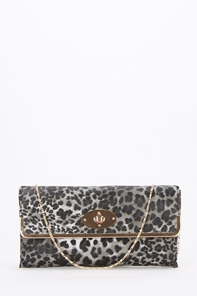 Textured Animal Print Clutch Bag