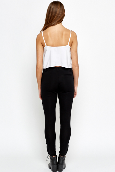 Black Zip Detail Treggings