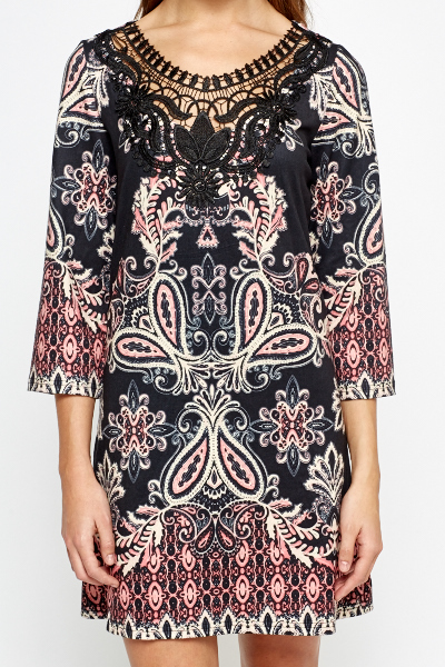 Crochet Neck Ornate Shift Dress
